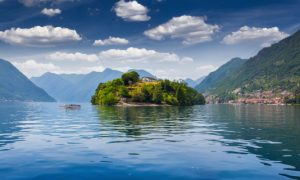 best island: View of the island Comacina on Lake Como